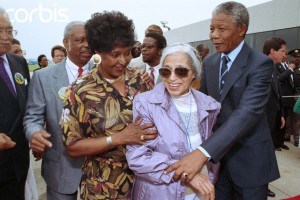 Winnie and Nelson Mandela with Rosa Parks