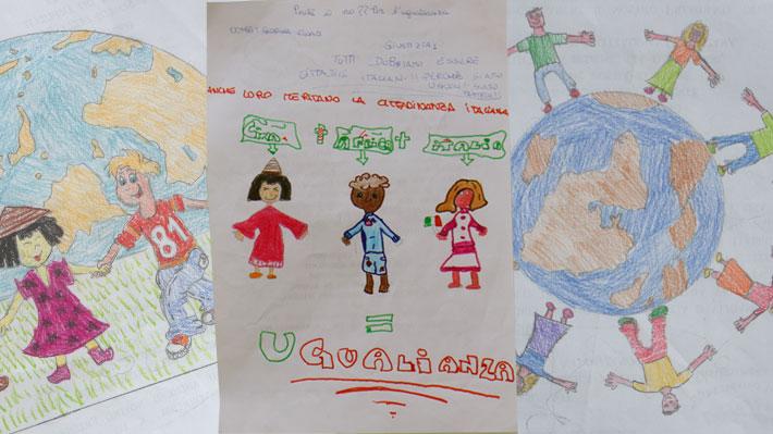 I bambini hanno firmato con i loro disegni le petizioni da consegnare al parlamento per chiedere il riconoscimento della cittadinanza italiana per tutti i bambini nati o cresciuti in Italia il diritto di cittadinanza.