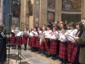 Le voci femminili del coro della comunità ucraina della chiesa dei santi Sergio e Bacco n occasione del concerto natalizio dell'8 febbraio