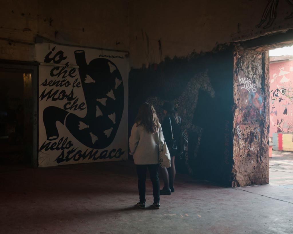 MAAM – Visitatori di fronte a Mosche di Francesco Petrone. Sulla destra Only with you di Francesca Romana Pinzari e Giovanni Gaggia – photo Giuliano Ottaviani