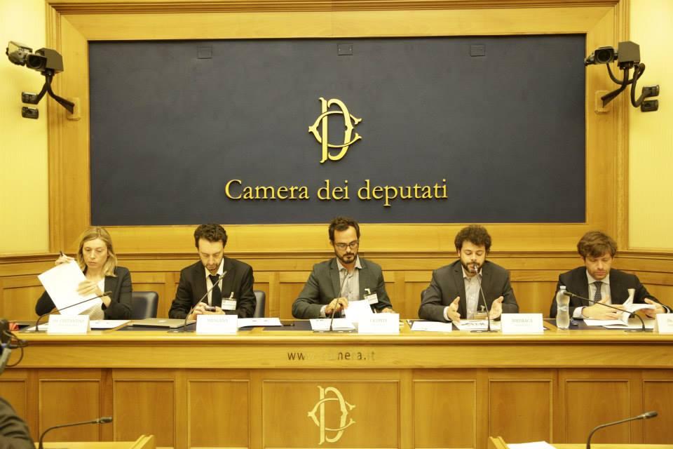 Celeste Costantino, Antonello Mangano, Fabio Ciconte, Lorenzo Misuraca, Pippo Civati alla presentazione della campagna #FilieraSporca alla Camera dei Deputati