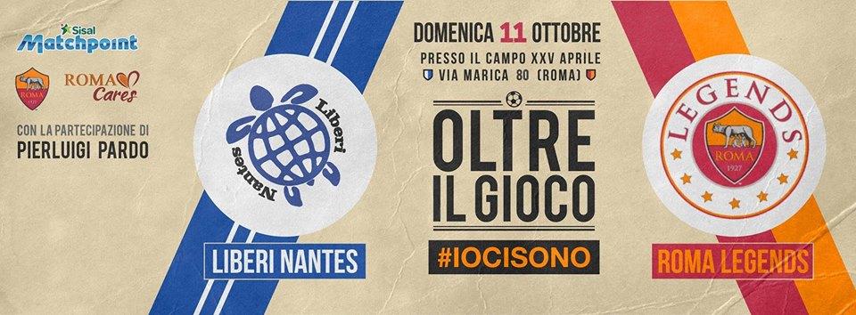 Domenica 11 ottobre gli ex campioni della AS Roma incontreranno i rifugiati della Liberi Nantes sul campo XXV Aprile