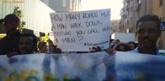 Manifestazione di migranti a Roma