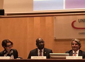 Maria Paola Nanni, Madi Sakande e Alessandro Cantarelli all'Aggiornamento Statistico del Rapporto Immigrazione e Imprenditoria 2016